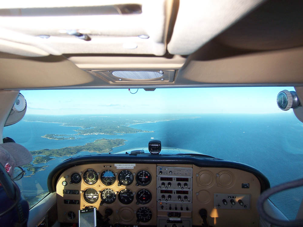 Flying over the islands off the coast of Woods Hole, MA